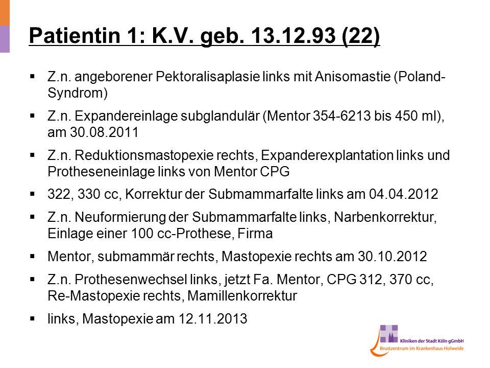 Patientin 1: K.V. geb. 13.12.93 (22) Z.n. angeborener Pektoralisaplasie links mit Anisomastie (Poland-Syndrom)