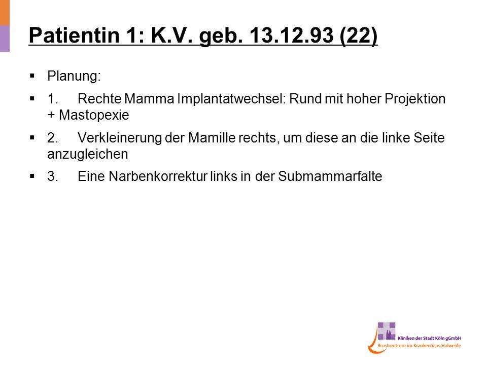 Patientin 1: K.V. geb. 13.12.93 (22) Planung: