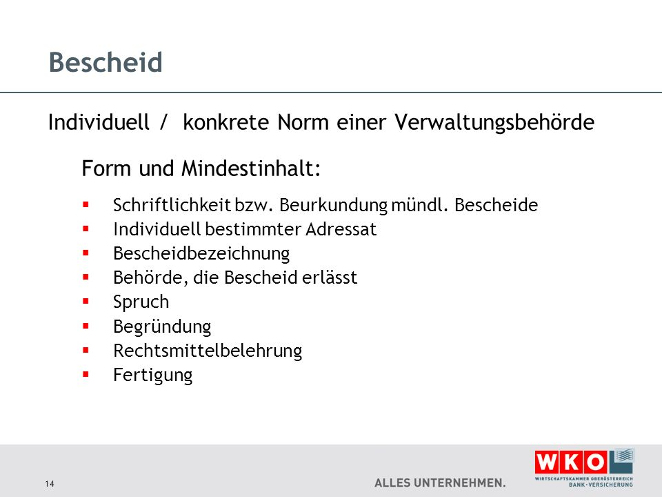 Bescheid Individuell / konkrete Norm einer Verwaltungsbehörde