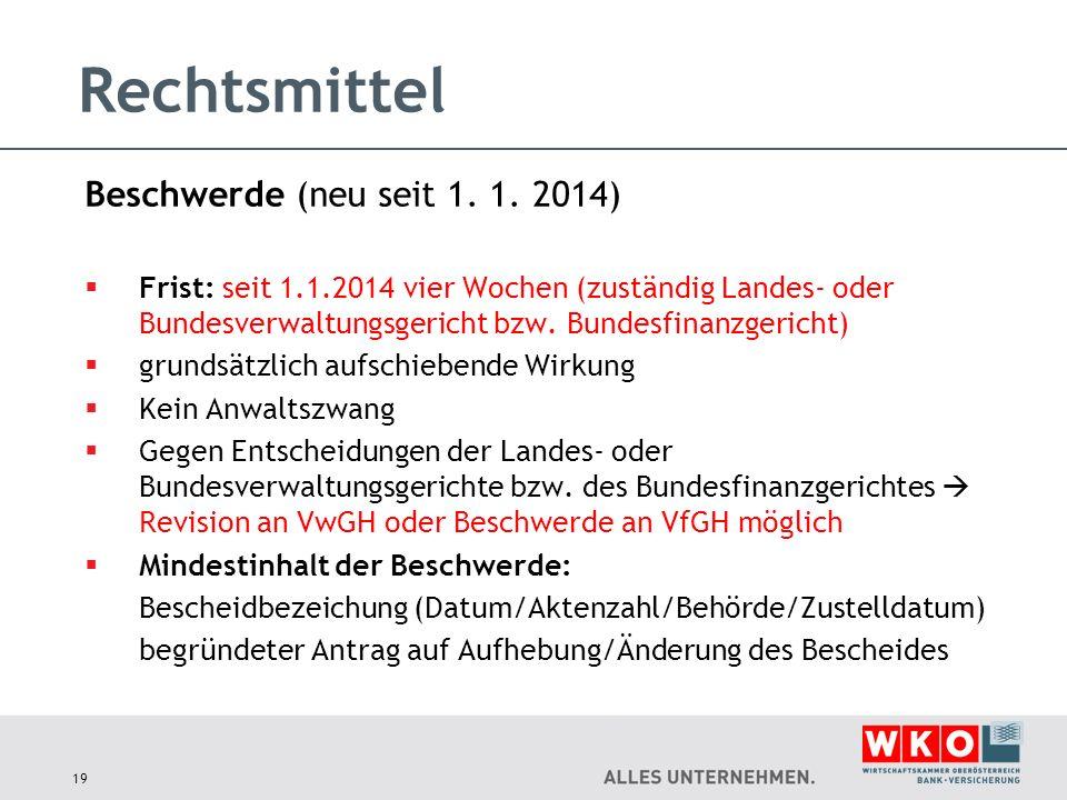Rechtsmittel Beschwerde (neu seit 1. 1. 2014)