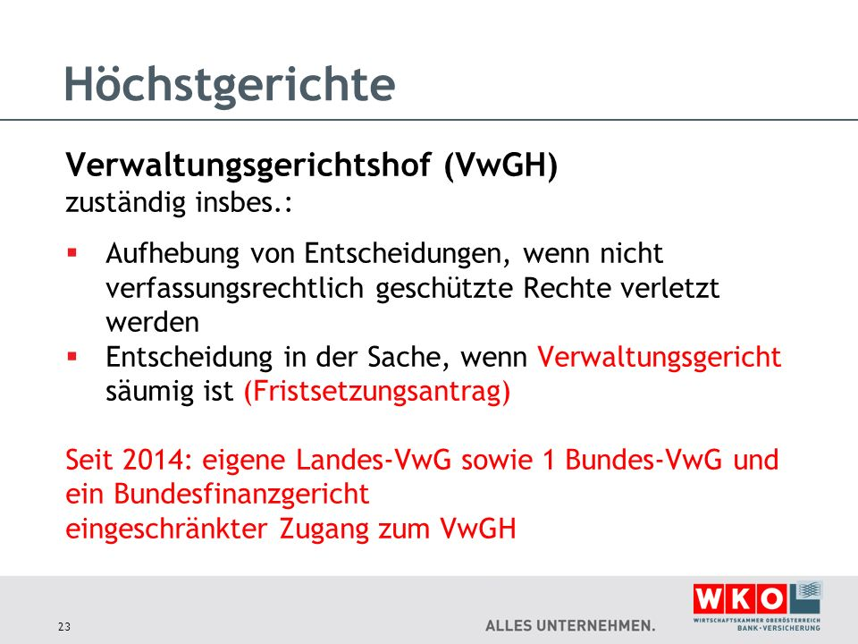 Höchstgerichte Verwaltungsgerichtshof (VwGH) zuständig insbes.: