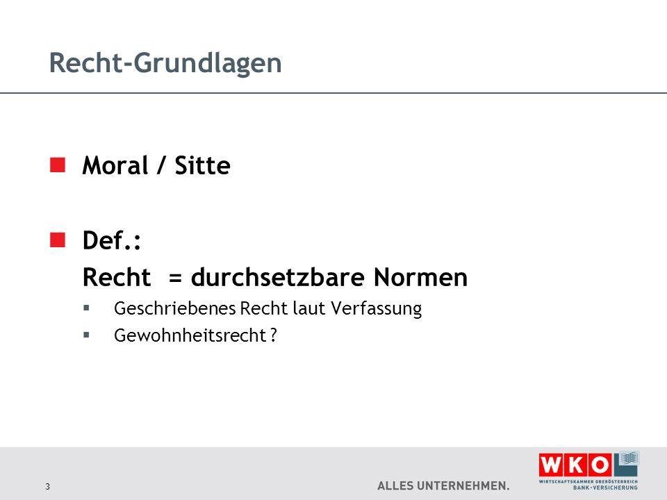 Recht-Grundlagen Moral / Sitte Def.: Recht = durchsetzbare Normen