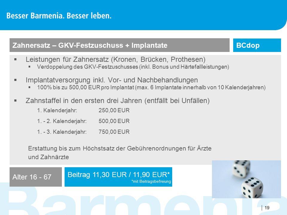 Zahnersatz – GKV-Festzuschuss + Implantate BCdop