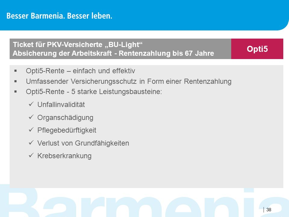 """Opti5 Ticket für PKV-Versicherte """"BU-Light"""