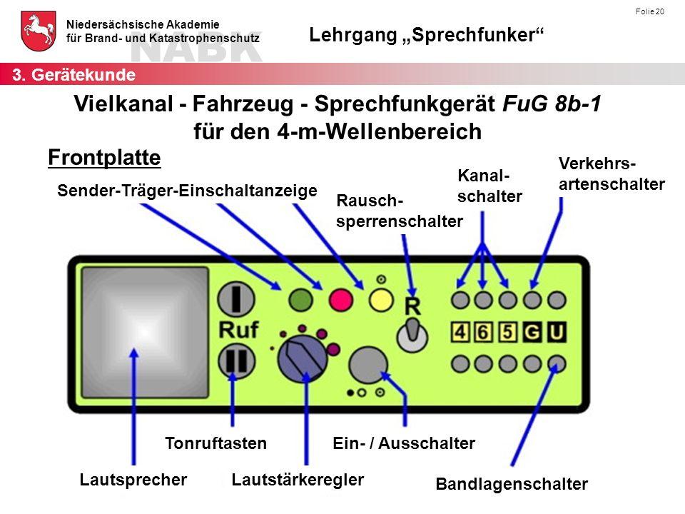 3. Gerätekunde Vielkanal - Fahrzeug - Sprechfunkgerät FuG 8b-1 für den 4-m-Wellenbereich. Frontplatte.