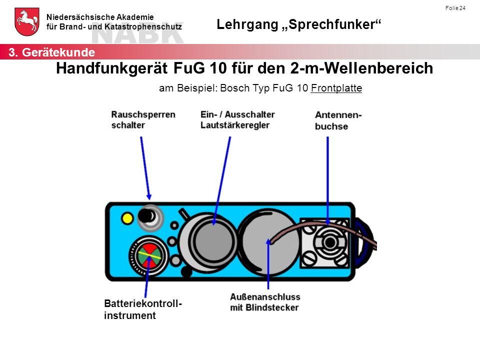 am Beispiel: Bosch Typ FuG 10 Frontplatte