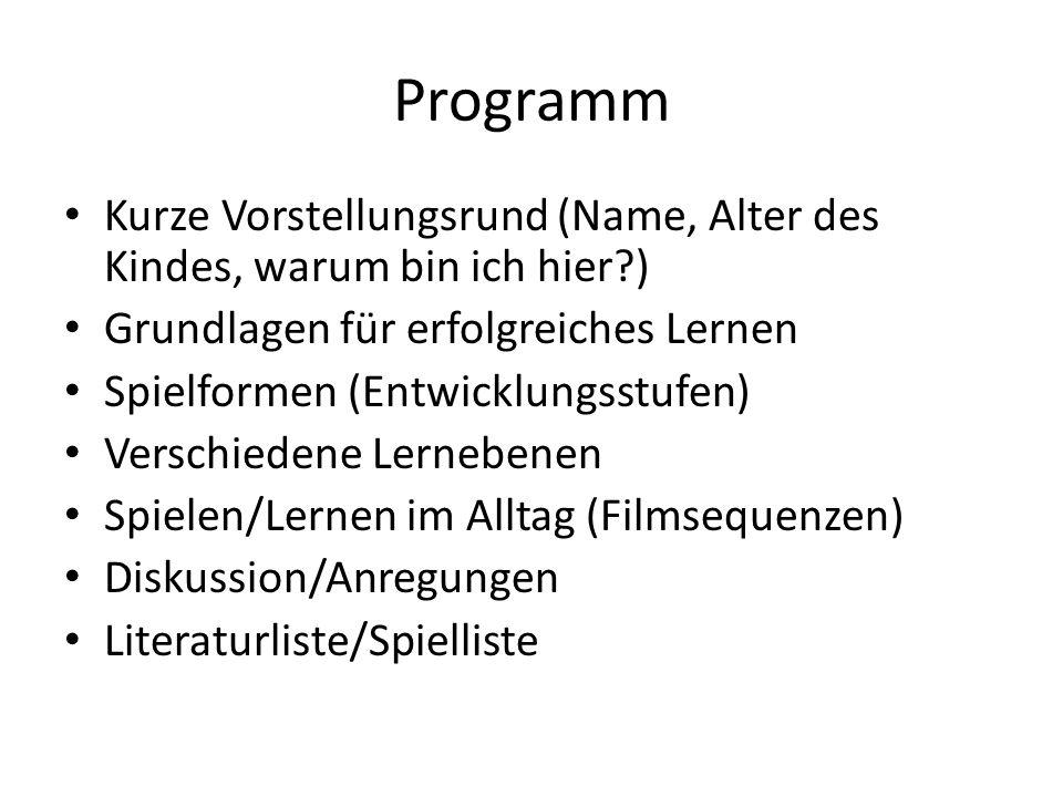 Programm Kurze Vorstellungsrund (Name, Alter des Kindes, warum bin ich hier ) Grundlagen für erfolgreiches Lernen.