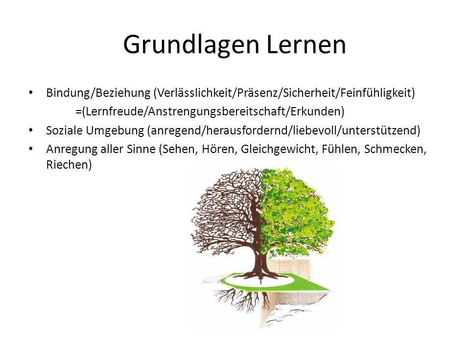 Grundlagen Lernen Bindung/Beziehung (Verlässlichkeit/Präsenz/Sicherheit/Feinfühligkeit) =(Lernfreude/Anstrengungsbereitschaft/Erkunden)