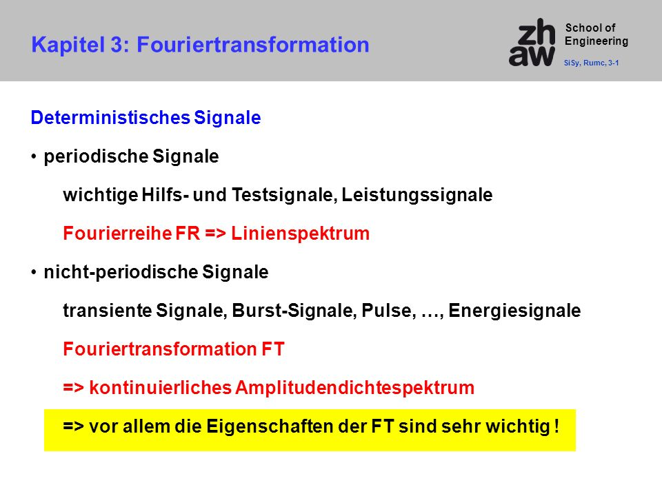Kapitel 3: Fouriertransformation