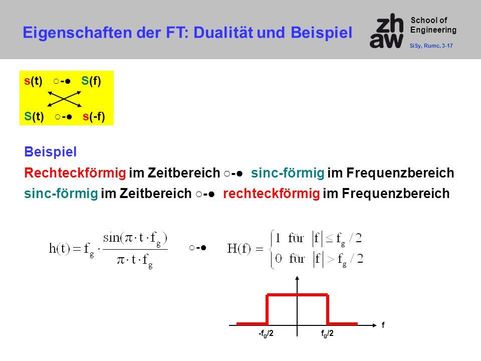 Eigenschaften der FT: Dualität und Beispiel