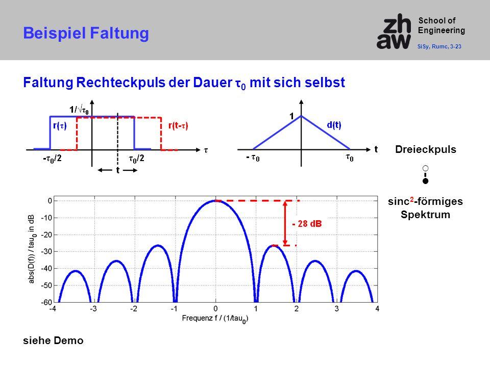Beispiel Faltung Faltung Rechteckpuls der Dauer τ0 mit sich selbst ○-●