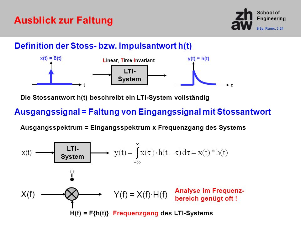 Ausblick zur Faltung Definition der Stoss- bzw. Impulsantwort h(t)