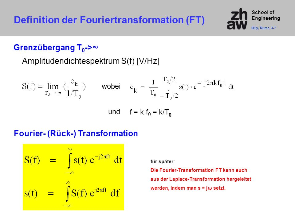 Definition der Fouriertransformation (FT)