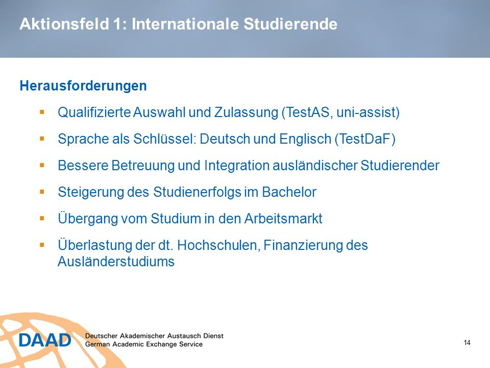 Aktionsfeld 1: Internationale Studierende