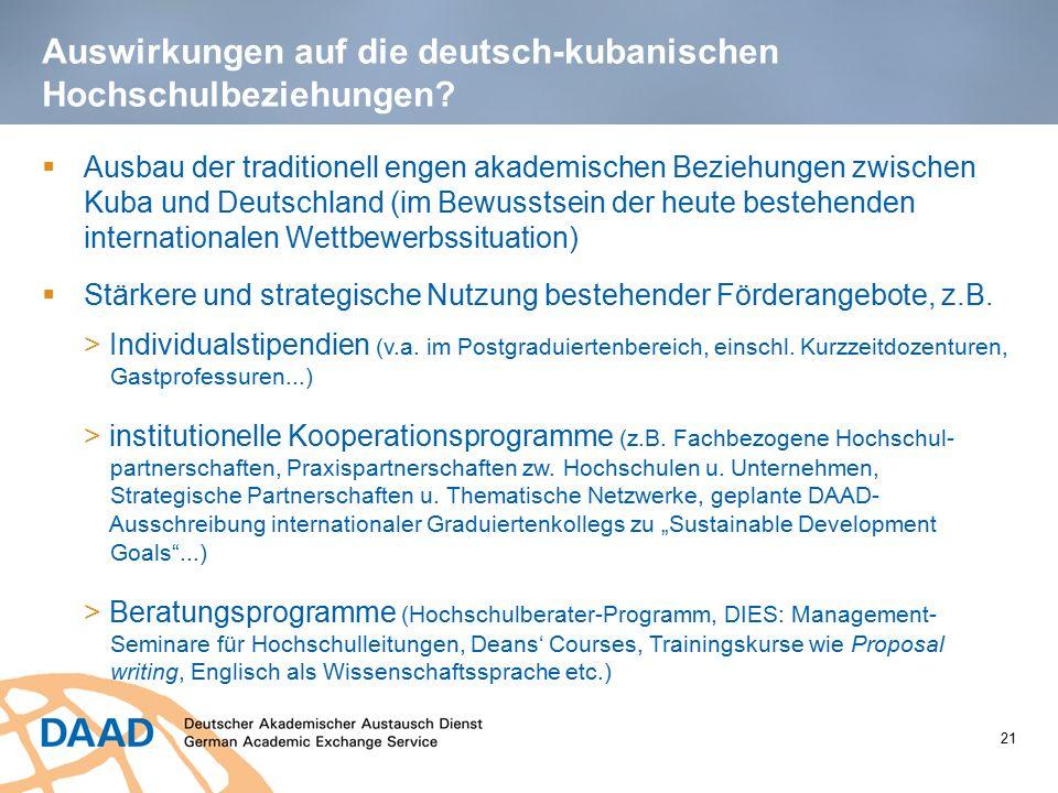 Auswirkungen auf die deutsch-kubanischen Hochschulbeziehungen