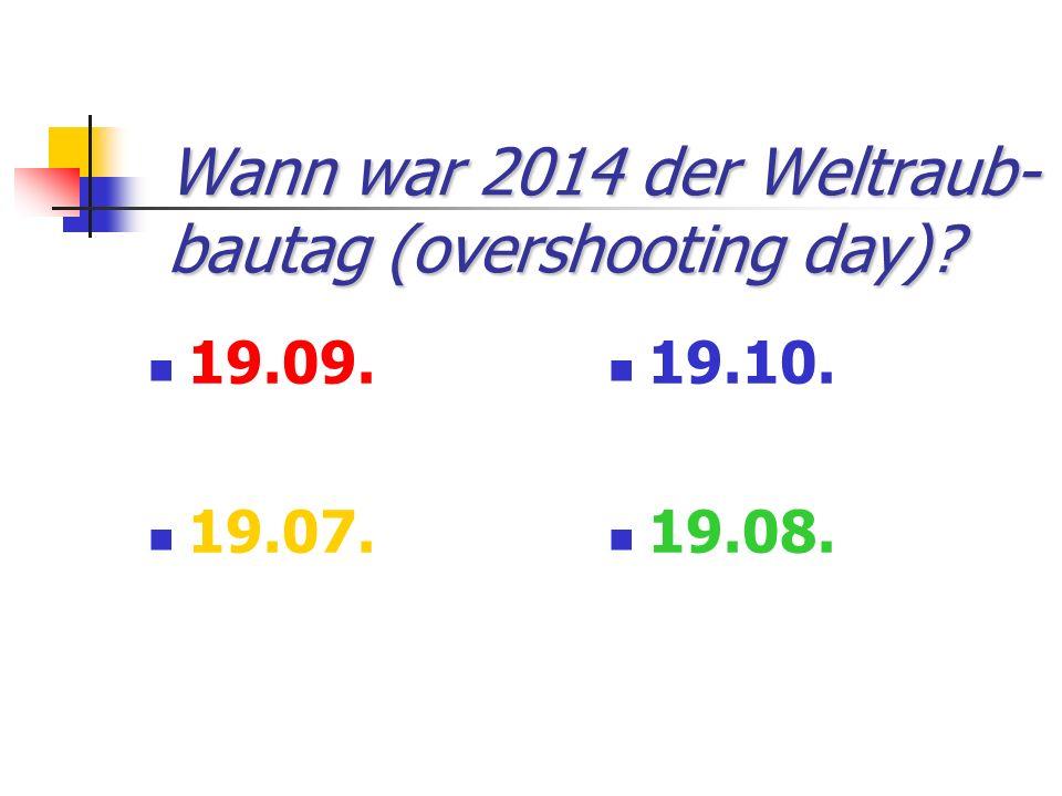 Wann war 2014 der Weltraub-bautag (overshooting day)