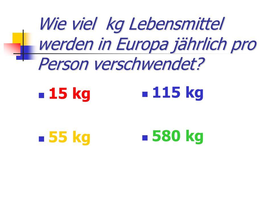 Wie viel kg Lebensmittel werden in Europa jährlich pro Person verschwendet