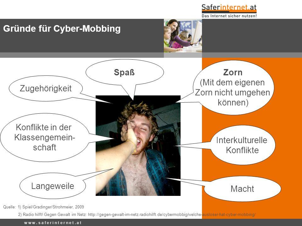Gründe für Cyber-Mobbing