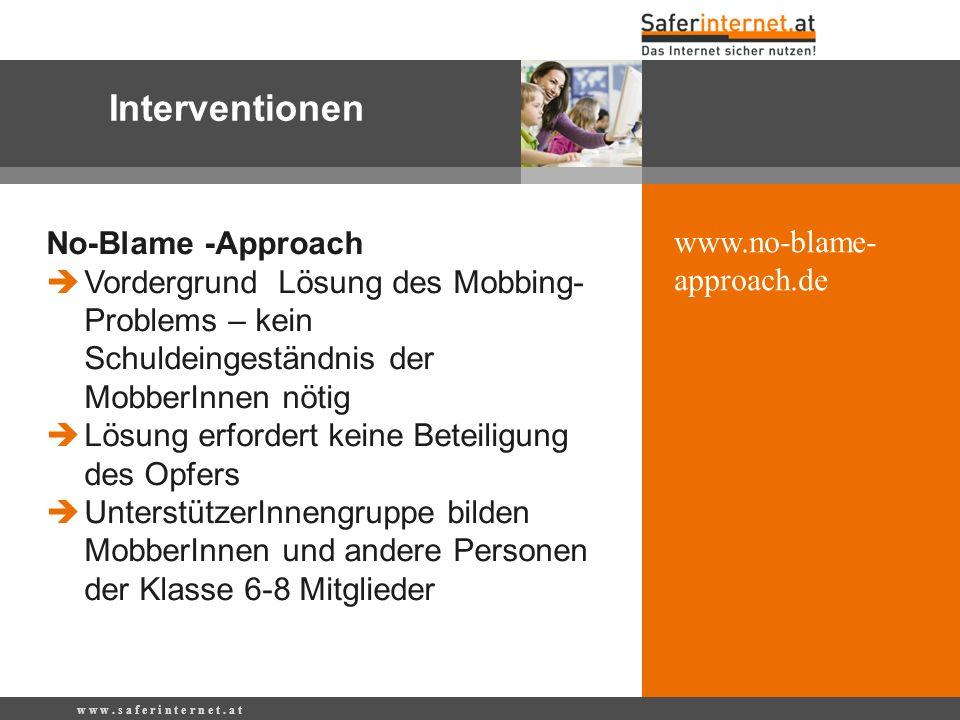 Interventionen No-Blame -Approach www.no-blame-approach.de