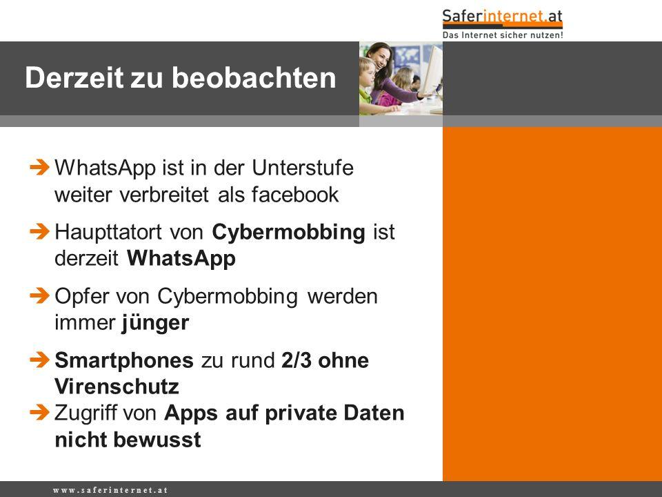 Derzeit zu beobachten WhatsApp ist in der Unterstufe weiter verbreitet als facebook. Haupttatort von Cybermobbing ist derzeit WhatsApp.