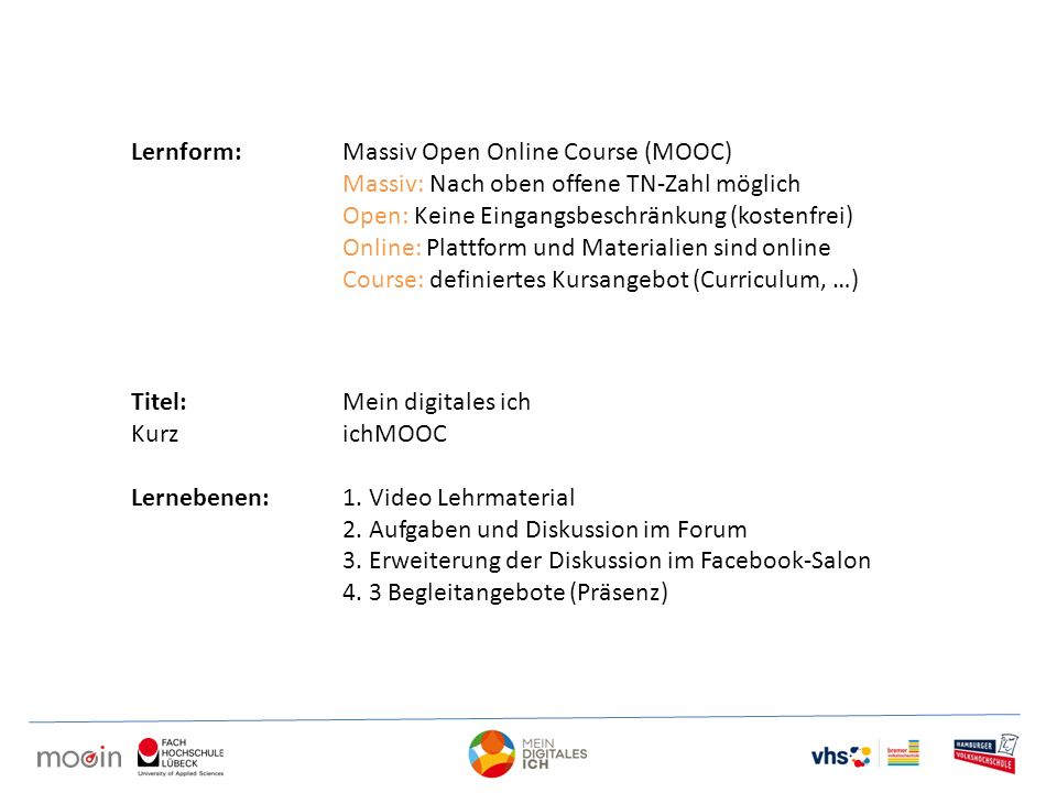 Lernform: Massiv Open Online Course (MOOC)