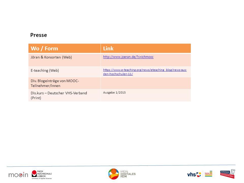 Presse Wo / Form Link Jöran & Konsorten (Web) E-teaching (Web)