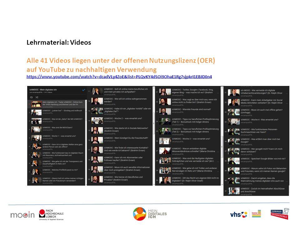 Alle 41 Videos liegen unter der offenen Nutzungslizenz (OER)