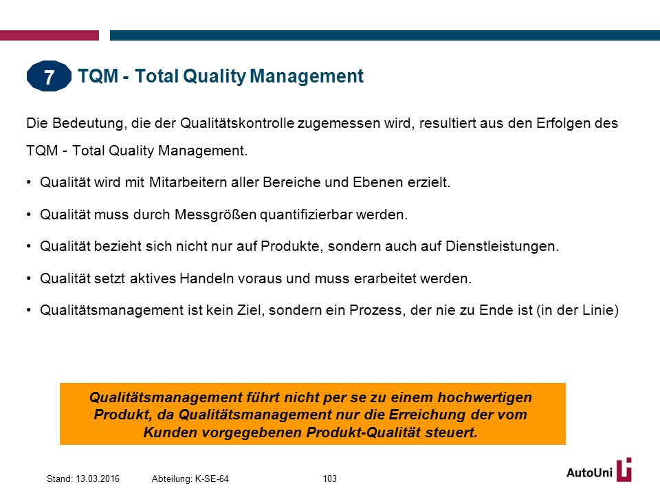 TQM - Total Quality Management