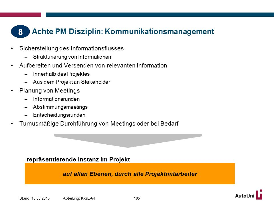 Achte PM Disziplin: Kommunikationsmanagement
