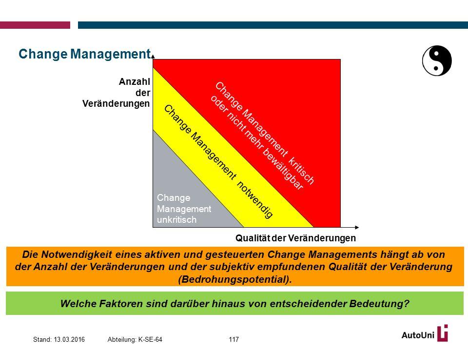 Change Management Change Management notwendig. Change. Management unkritisch. Change Management kritisch oder nicht mehr bewältigbar.