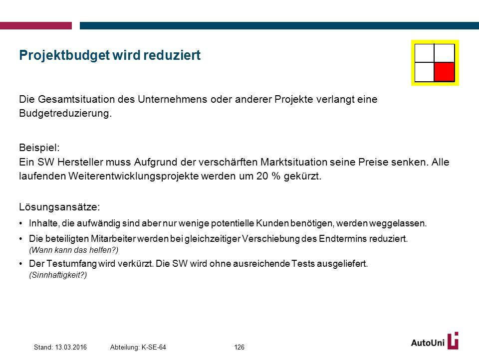 Projektbudget wird reduziert