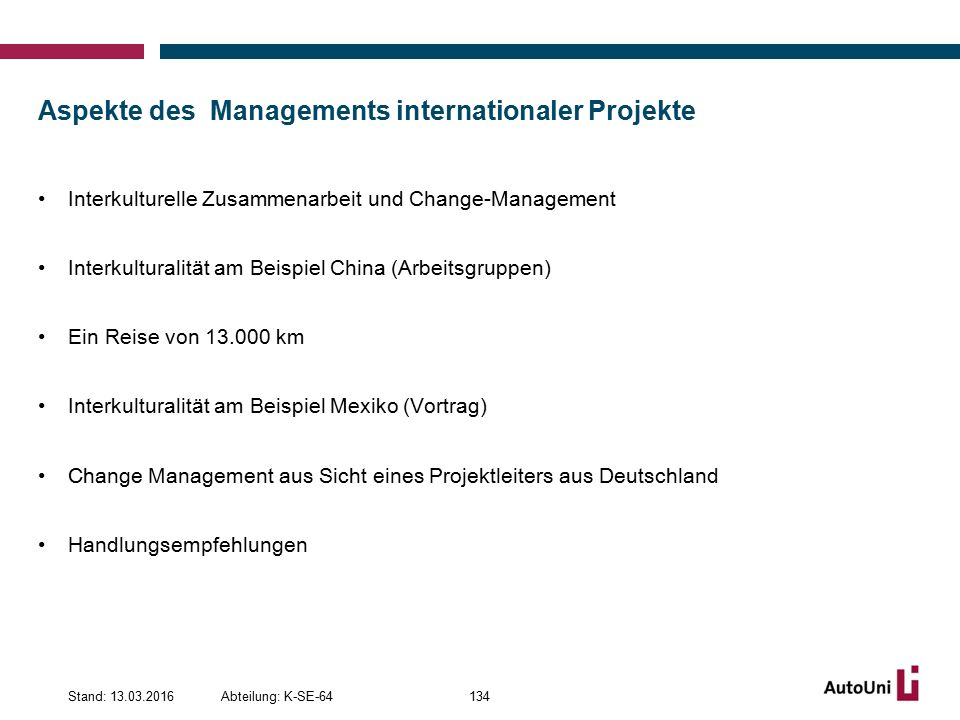 Aspekte des Managements internationaler Projekte