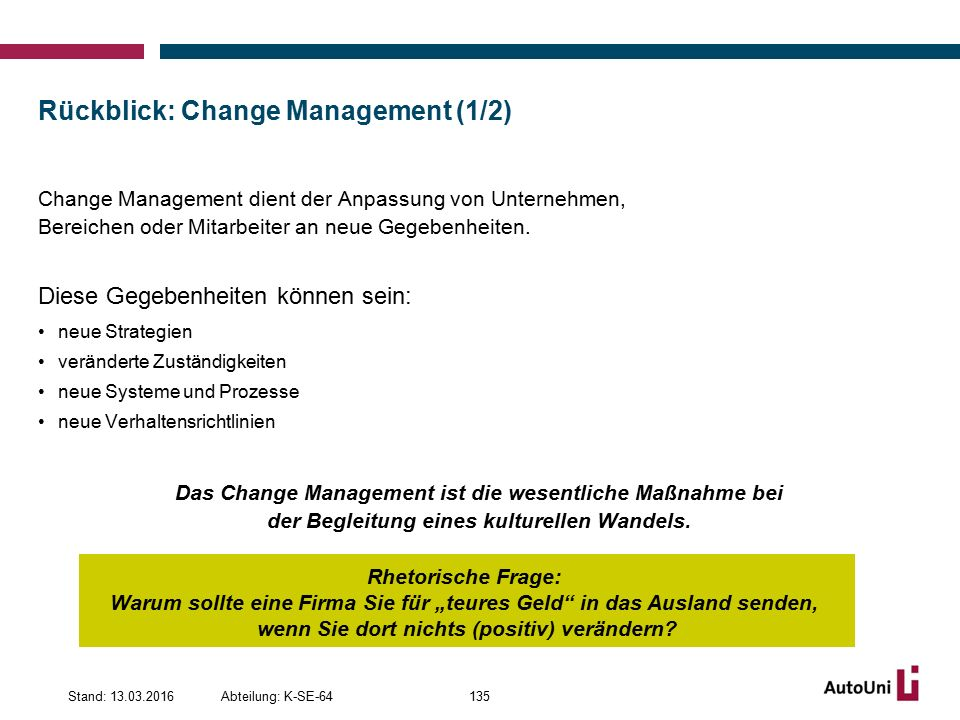Rückblick: Change Management (1/2)
