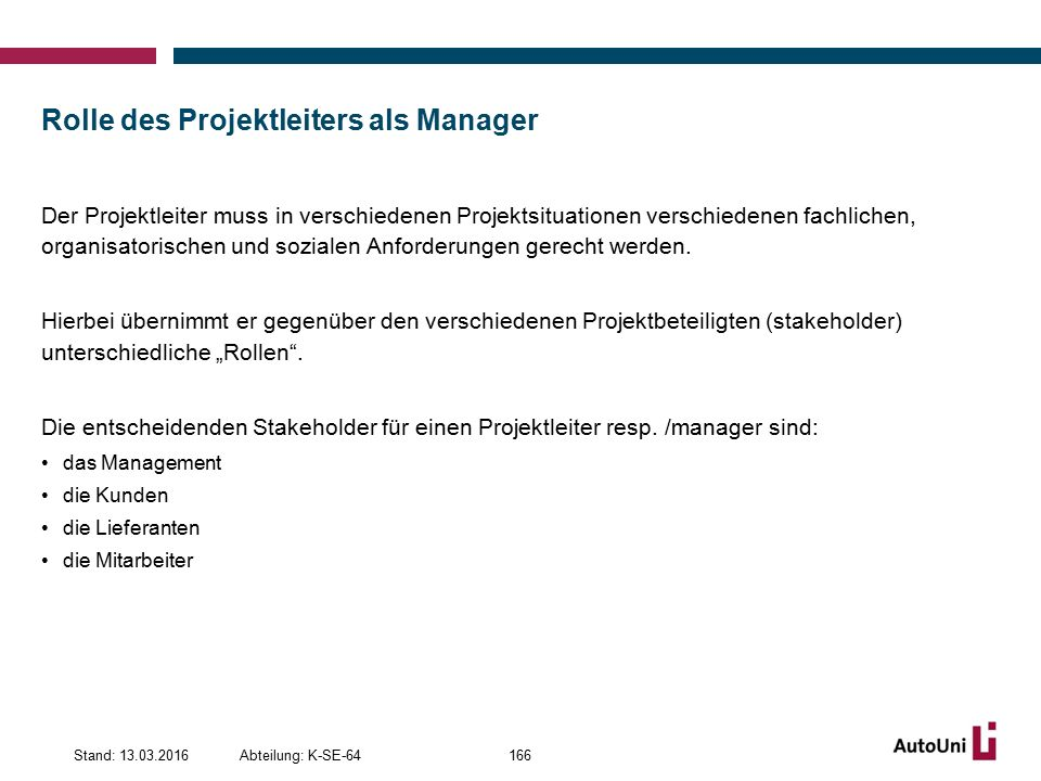 Rolle des Projektleiters als Manager