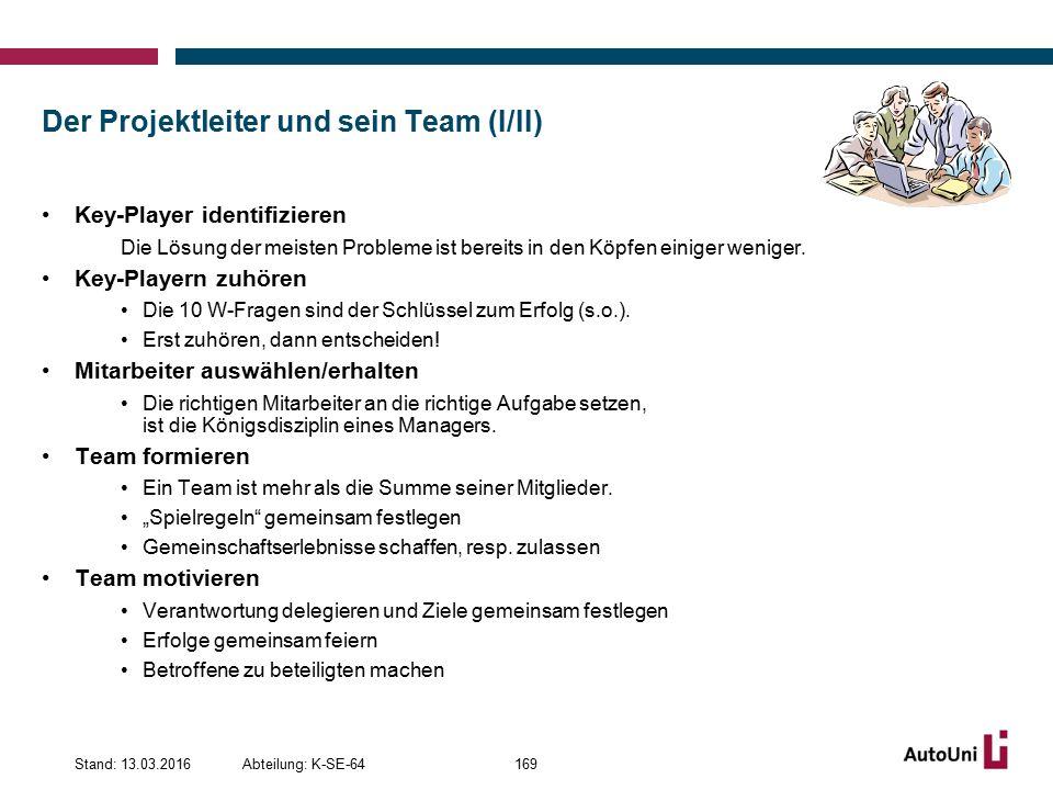 Der Projektleiter und sein Team (I/II)