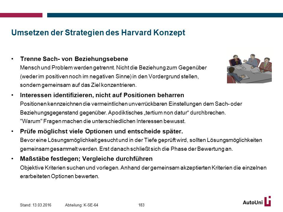 Umsetzen der Strategien des Harvard Konzept