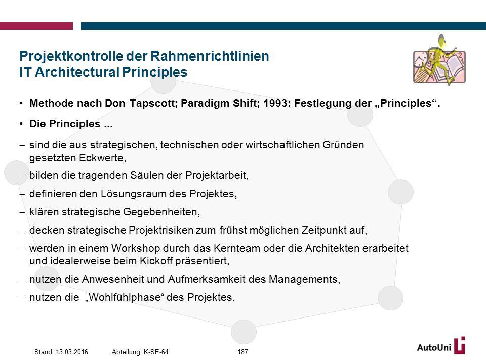 Projektkontrolle der Rahmenrichtlinien IT Architectural Principles