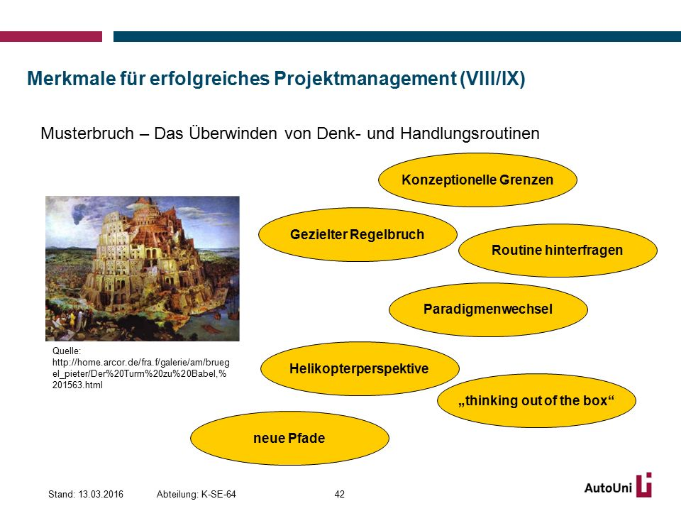 Merkmale für erfolgreiches Projektmanagement (VIII/IX)