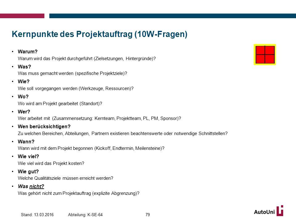 Kernpunkte des Projektauftrag (10W-Fragen)