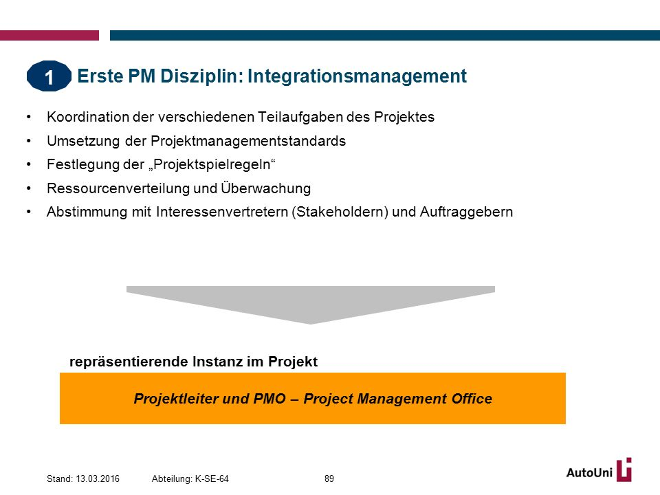 Erste PM Disziplin: Integrationsmanagement