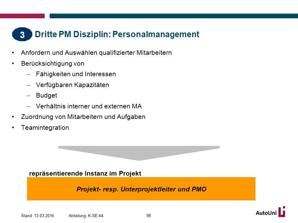 Dritte PM Disziplin: Personalmanagement