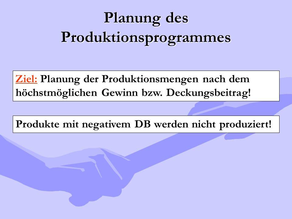 Planung des Produktionsprogrammes