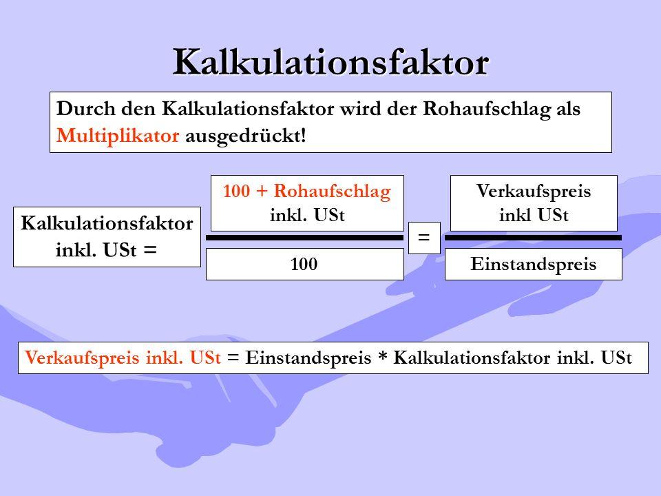 Kalkulationsfaktor Durch den Kalkulationsfaktor wird der Rohaufschlag als Multiplikator ausgedrückt!