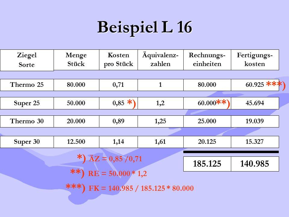Beispiel L 16 ***) *) **) *) ÄZ = 0,85 /0,71 **) RE = 50.000 * 1,2
