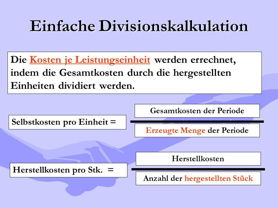 Einfache Divisionskalkulation