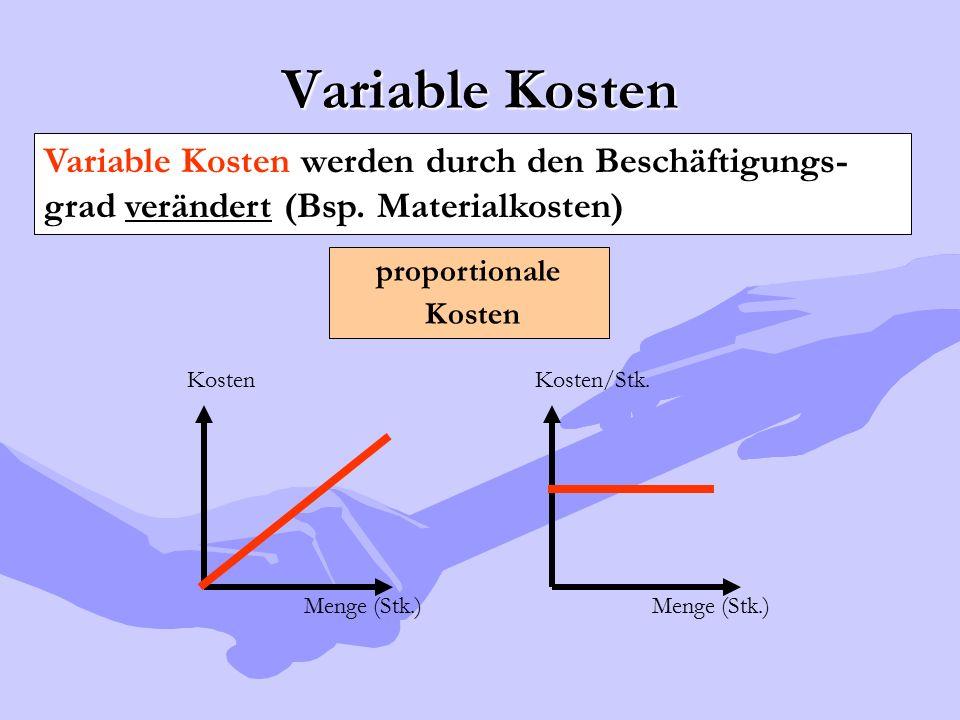 Variable Kosten Variable Kosten werden durch den Beschäftigungs-grad verändert (Bsp. Materialkosten)