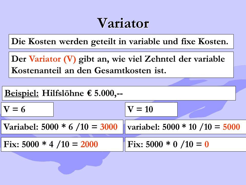 Variator Die Kosten werden geteilt in variable und fixe Kosten.