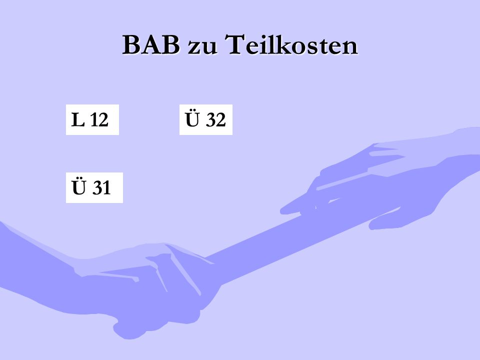 BAB zu Teilkosten L 12 Ü 32 Ü 31