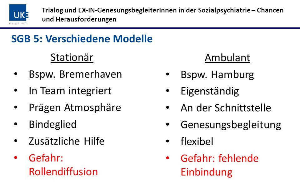SGB 5: Verschiedene Modelle