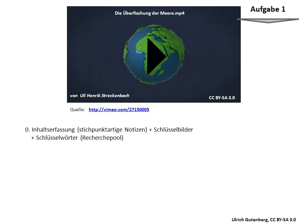 Schaue dir den Film einmal komplett an und mache dir beim zweiten Ansehen stichwortartige Notizen zu den Inhalten. Dabei können Screenshots aus dem Film (Schlüsselbilder) unterstützend genutzt werden.